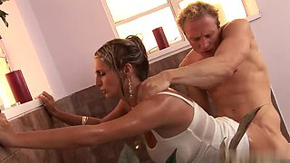 Horny blonde with big tits enjoys big cock in bathroom