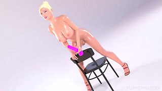3d busty animated blonde dildo hardcore anal sex