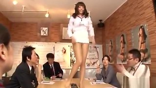 Office Lady In Pantyhose Masturbating On The Desk While Guys Watching Them