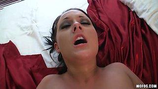 Bitch gets her pierced pussy stuffed!