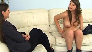 Gorgeous girl gets her round ass punished by a kinky mistress