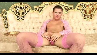 Crossdresser in pink stocking fuck pervert mature