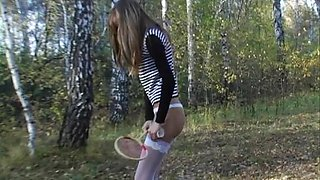 Skinny tall blonde teen dominates her serf