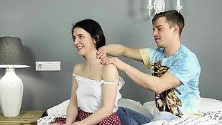 Cute black haired Sasha Mamaeva meets the defloration guy