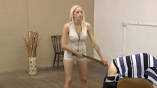 hot strict mistress in shorts punishing her slave with strap, belt and cane