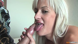 Blonde Miss Stacy bounces on his dick while her tits jiggle