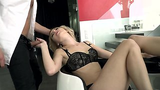 Blonde in black lingerie teases guy's cock with feet before fuck