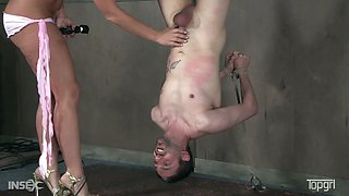 Sex-hungry mistress London River punishes balls and dick of her submissive man