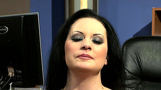 Chubby submissive drilled in the office