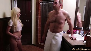 Petite stepdaughter sixtynining in taboo duo