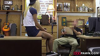 Blonde babe in glasses banged by nasty pawn guy