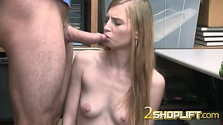 Innocent ava is blackmailed into getting banged after being caught stealing