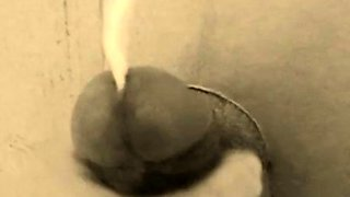 homemade gloryhole handjob with big cumshot