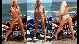 Melissa hardbody motorcycle bikini ass show