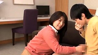 Japanese honey Suzuka opens wide for two horny Japanese guys