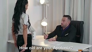 Gamine lusty brunette Apolonia lures her own boss as she wanna suck him