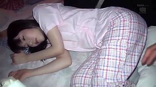 Sleeping japanese schoolgirl