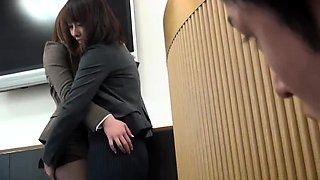 Elegant Asian secretary in pantyhose has a hunger for cock