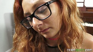 Red haired chick in glasses Kadence Marie gives a great blowjob in hot pov clip