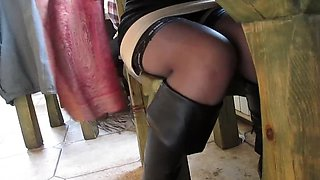 Chick in stockings in public cafe