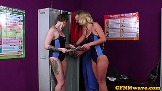 Busty british swimsuit babes tug in CFNM trio