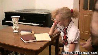 Amazing coed tries wild sex with her teacher