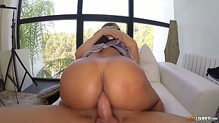 Whorish maid in sexy uniform Perla is polishing a dick with her mouth and anus