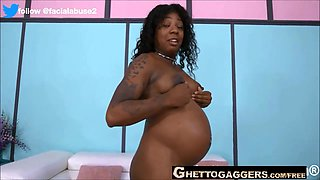 Pregnant Black Woman In Rough Face Fuck And Anal Session