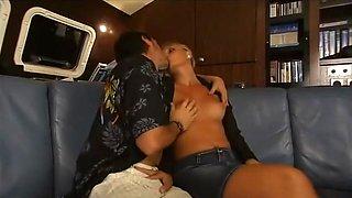Exotic pornstars Ellen Saint and Sandy Style in horny blonde, threesomes sex scene