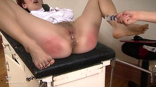 Blonde nurse wants to please a friend by drilling her with a toy