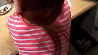 boss's boss's daughter catches mom in kitchen Intimate Famil