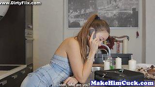 Alluring gf cuckolds her tiedup partner