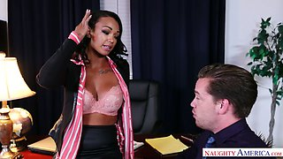 Ample breasted Harley Dean seduces her boss and has a dirty quickie in the office