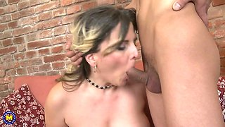 42YO mom Riona gets taboo sex from son