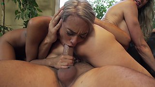 Two super hot blonde ladies are ready to get a huge magic stick