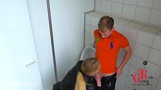 Shy Boy With Horny Bitch In Public Toilet