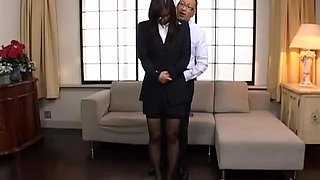 Assian office lady is tied up by her boss