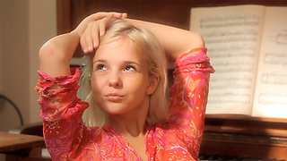 cute russian teen monroe playing piano and herself