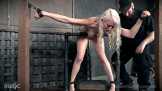 Hot blond bitch Lorelei Lee gets her muff punished in the bdsm room