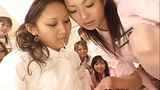 Asian nurses enjoy sex on top
