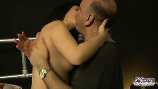Slutty Sarah fucks with an old stranger in her bedroom