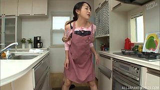 Great kitchen shag with shy Japanese housewife Takita Eriko