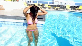 Topless brunette in bikini Eden B shows off yummy ripe boobies
