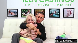 Pale skinny teen girl squirts on brutal casting
