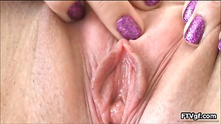 American girl giving a closeup peek part1