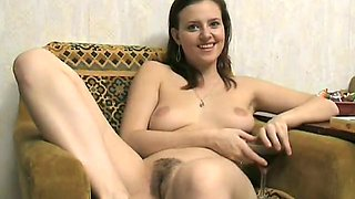 Busty babe Sasha is very happy and excited in the guestroom