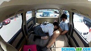 Beautiful looking Japanese schoolgirl enjoys sex in a car