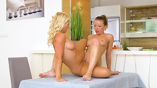 Perfect blonde seduces a beauty into 69ing fun