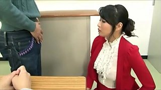 red dress teacher enjoys semen