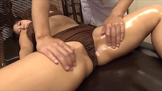 The young wife was tempted by the masseur's big cock, fucked nearby husband